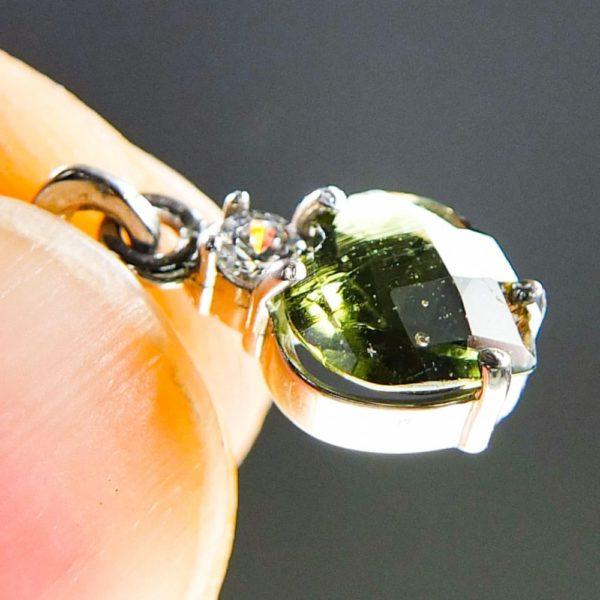 heart shape faceted moldavite and zircon pendant (0.9grams) 5