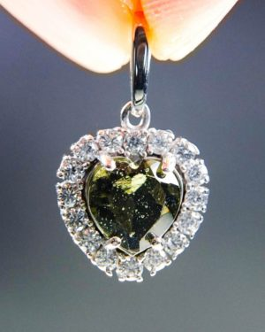 heart shape faceted moldavite and zircon pendant (2.41grams) 1