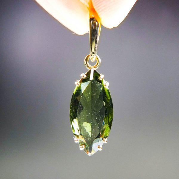 investment faceted moldavite in 14k gold pendant (2.13grams) 1