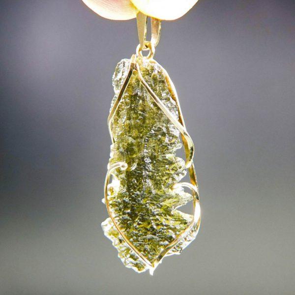 investment faceted moldavite in 14k gold pendant (2.13grams) 2
