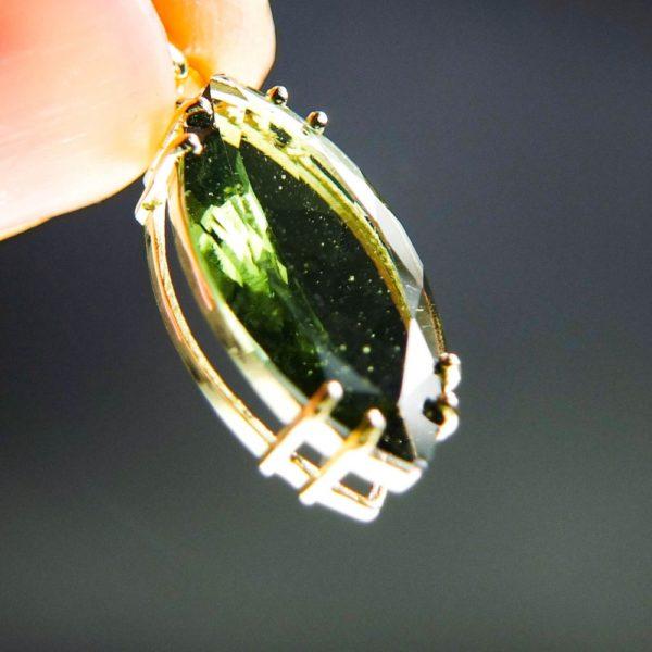 investment faceted moldavite in 14k gold pendant (2.13grams) 5