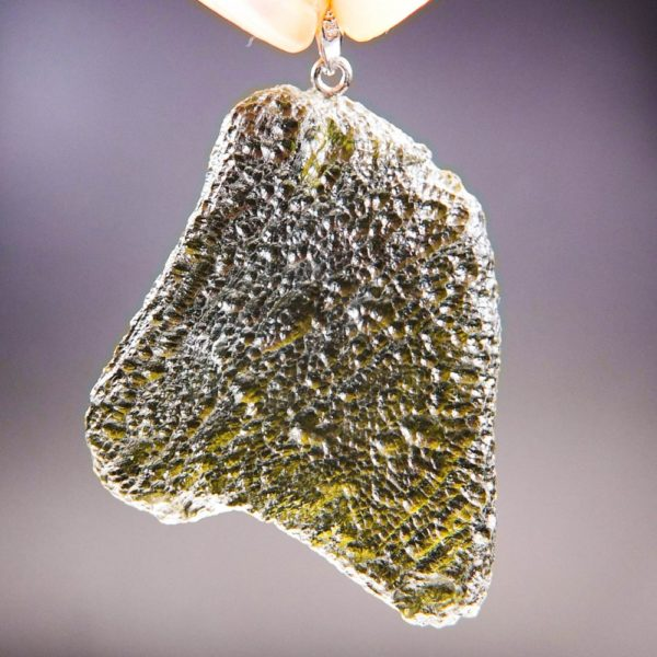 large glossy moldavite from chlum pendant (13.82grams) 4