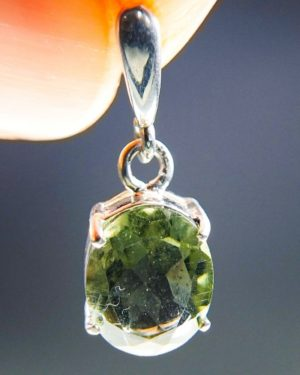 oval shape faceted moldavite in silver pendant (1.45grams) 1