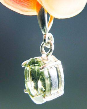oval shape faceted moldavite in silver pendant (1.45grams) 2