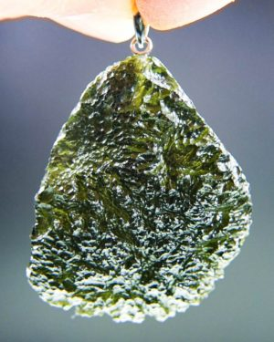 quality a+++ glossy large moldavite pendant with certificate of authenticity (11.94 grams) 1