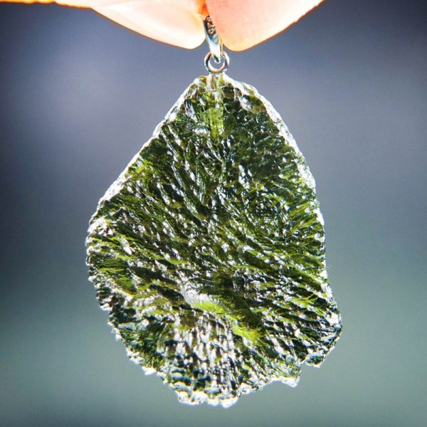 quality a+++ glossy large moldavite pendant with certificate of authenticity (11.94 grams) 4