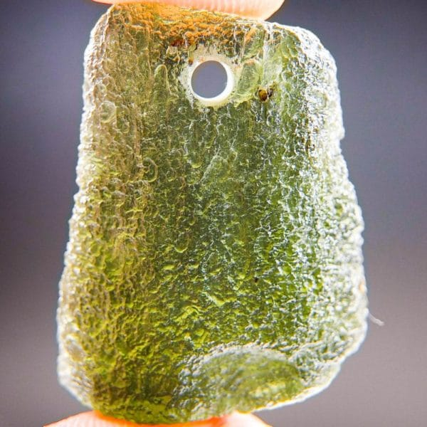 rare drilled moldavite pendant with certificate of authenticity (7.91grams) 1