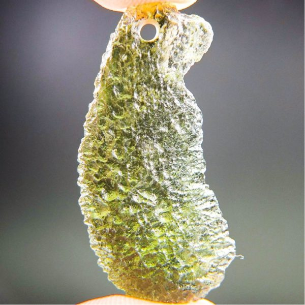 shiny olive green drilled moldavite pendant with certificate of authenticity (3.77grams) 1