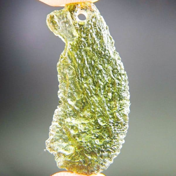 shiny olive green drilled moldavite pendant with certificate of authenticity (3.77grams) 4