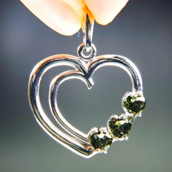 three heart beautiful moldavite in silver heart shape pendant (4.5grams) 1