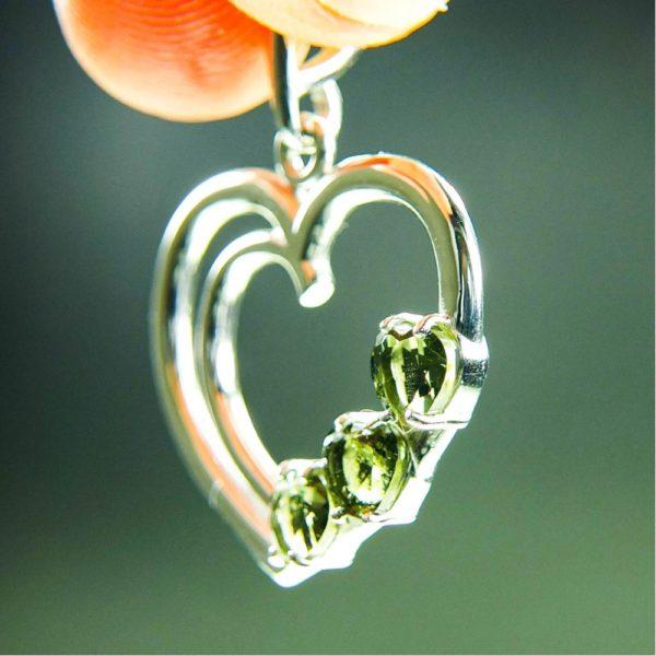 three heart beautiful moldavite in silver heart shape pendant (4.5grams) 2