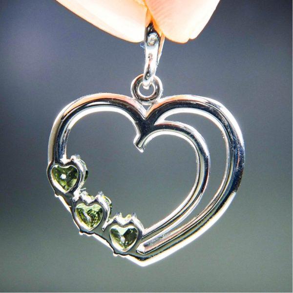 three heart beautiful moldavite in silver heart shape pendant (4.5grams) 4
