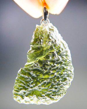 Vibrant green Certified Glossy Moldavite Pendant
